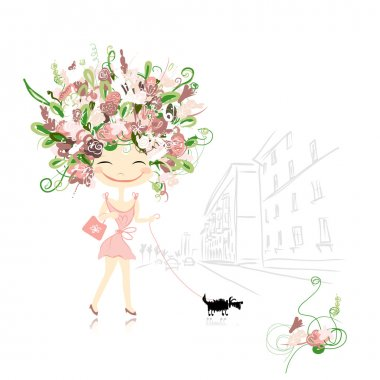 Floral girl with dog on street, sketch for your design