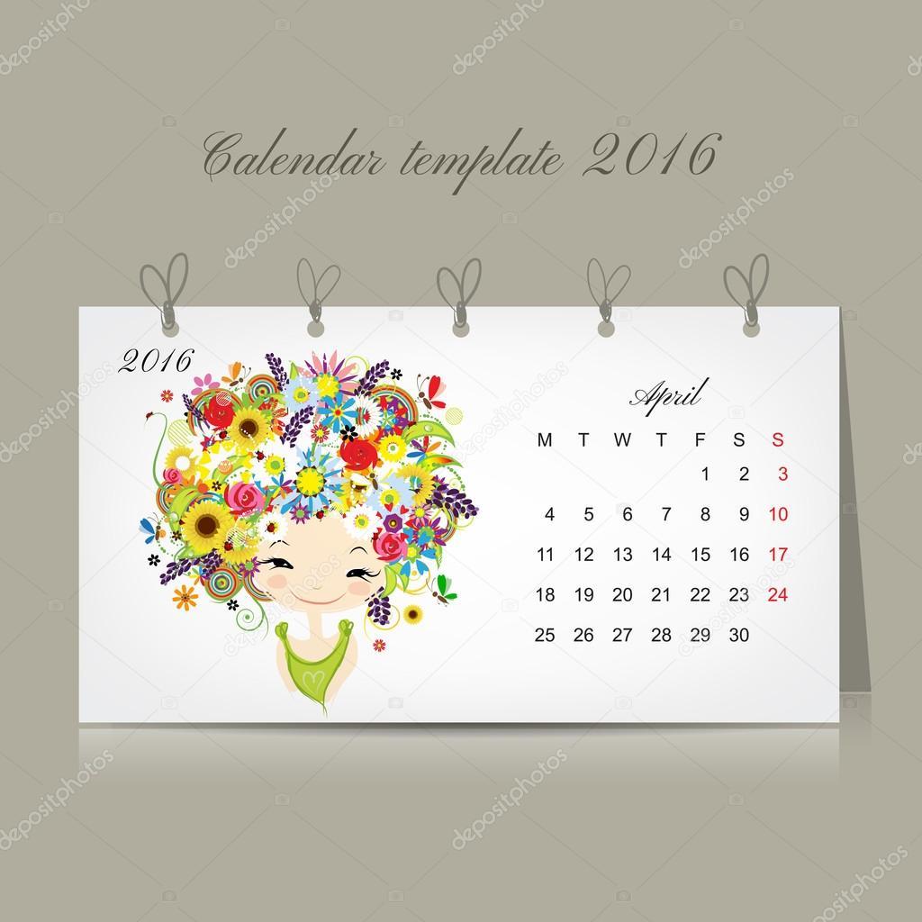 Calendar 2016, april month. Season girls design