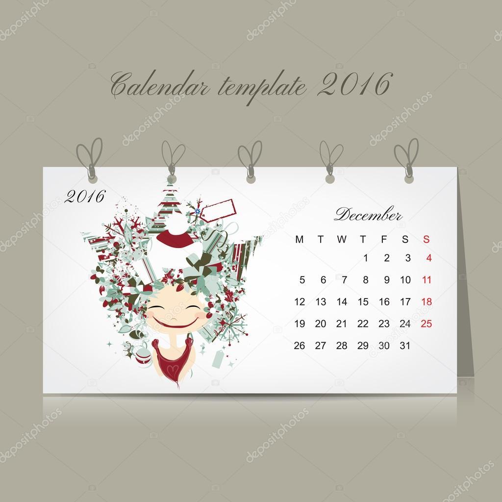 Calendar 2016, december month. Season girls design
