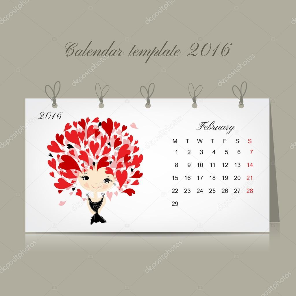 Calendar 2016, february month. Season girls design