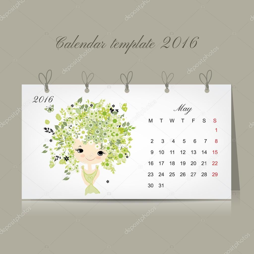 Calendar 2016, may month. Season girls design