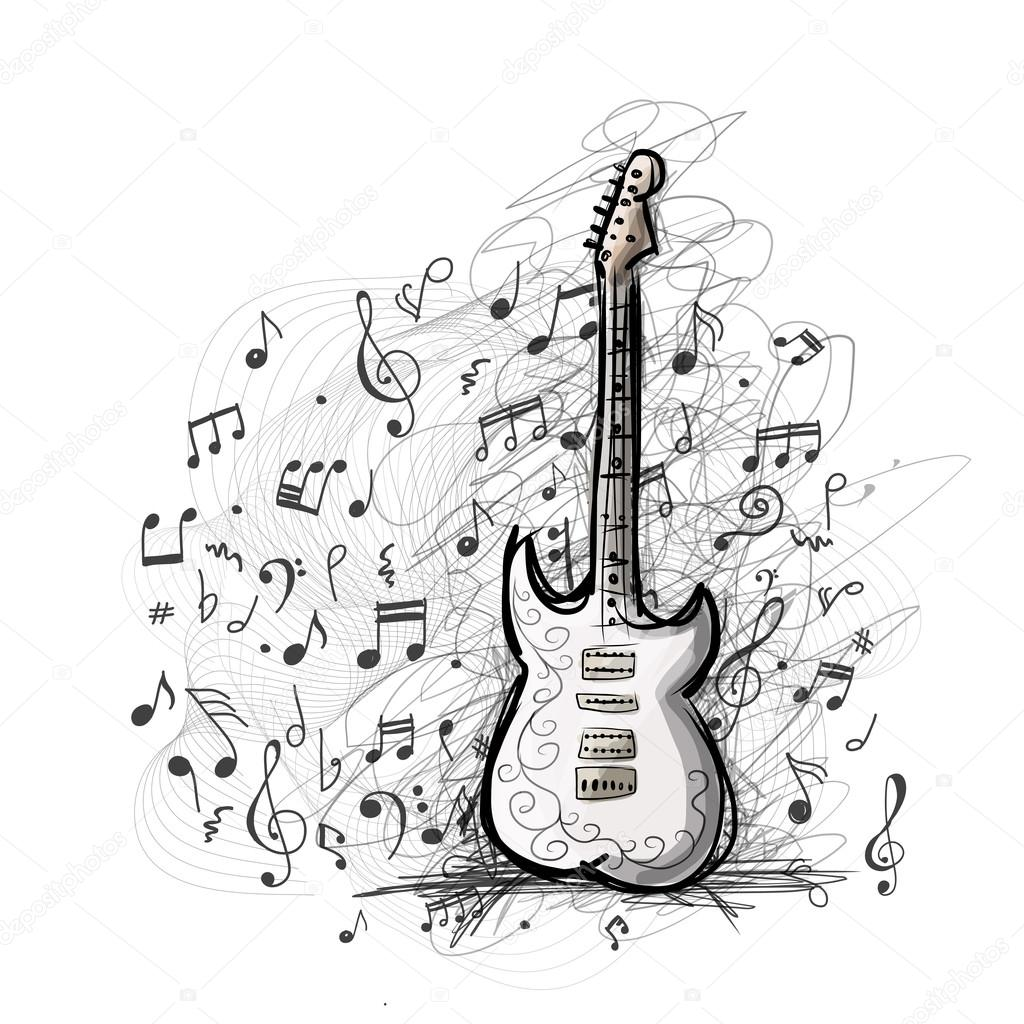 Art Sketch Of Guitar Design Stock Vector