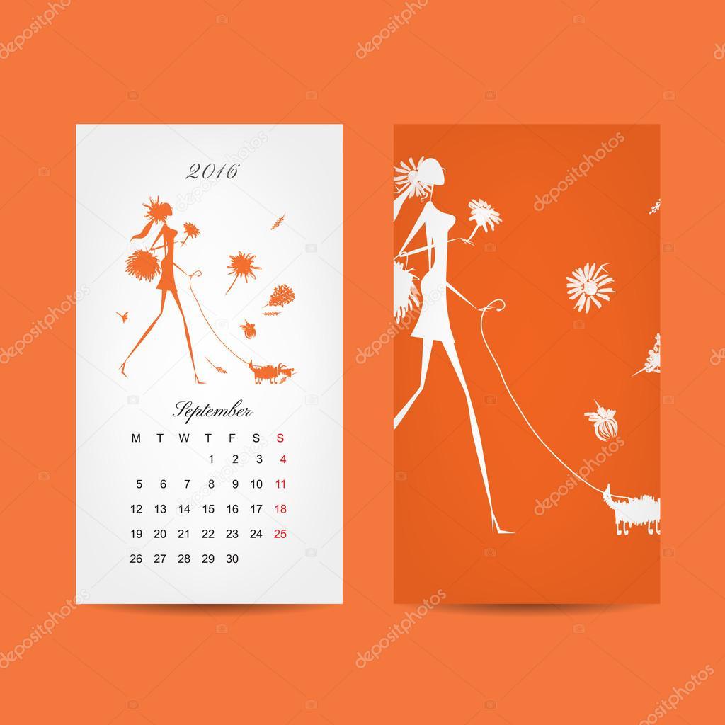 Calendar 2016 grid. Fashion girls design