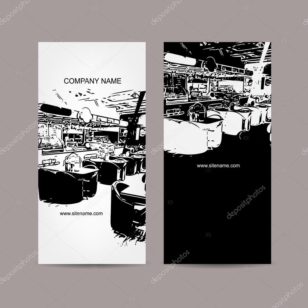 Silhouette Interieur Cafe Abstraite Conception De Carte Visite Illustration Stock