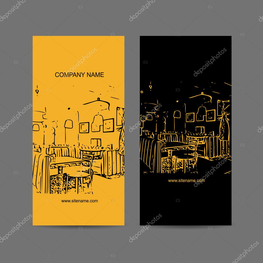 Abstract Cafe Interior Silhouette Business Card Design Stock