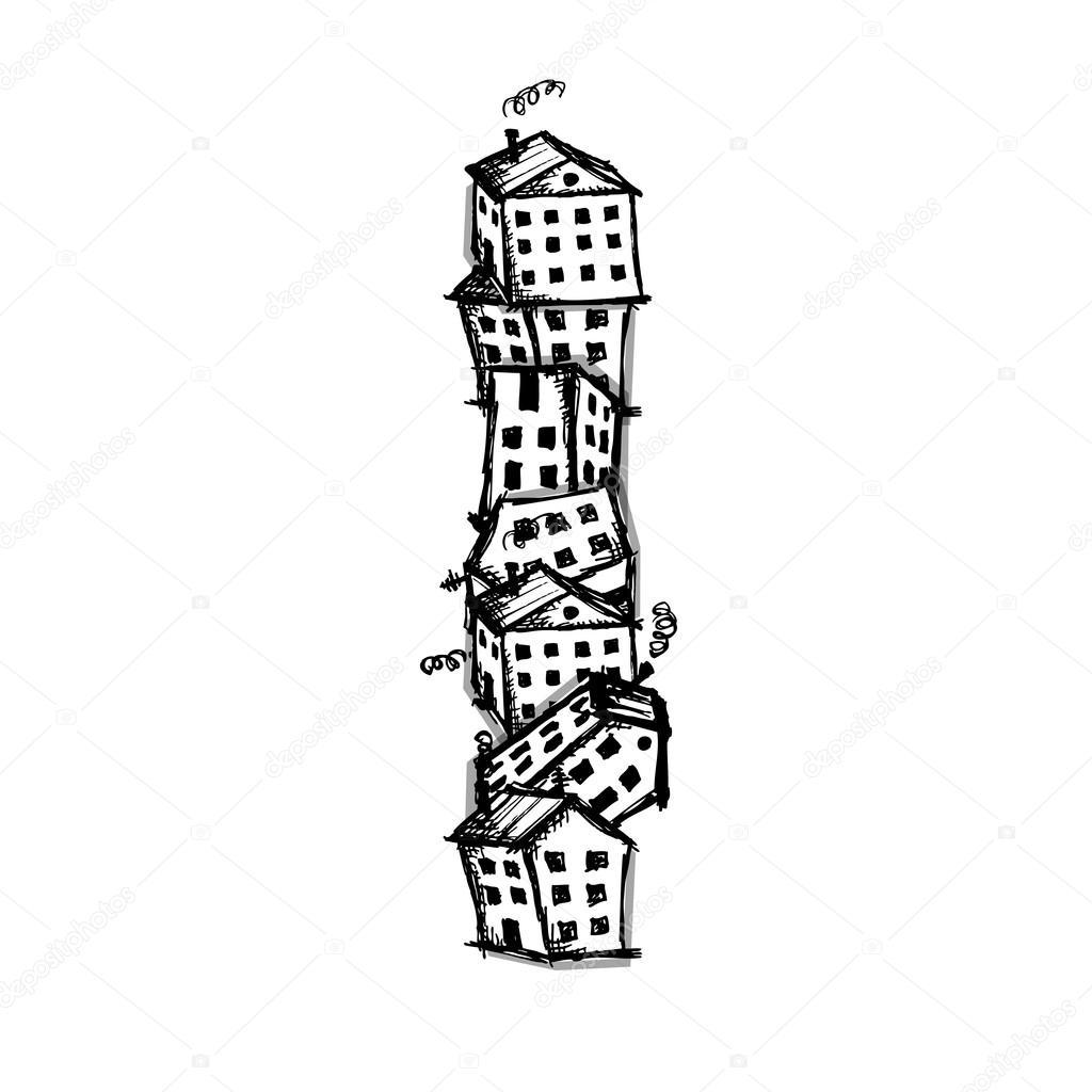 Brief habe ich von Häuser, Vektor-Alphabet-Gestaltung — Stockvektor ...