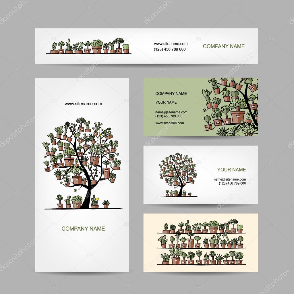 Conception De Cartes Visite Avec Arbre Cactus Image Vectorielle