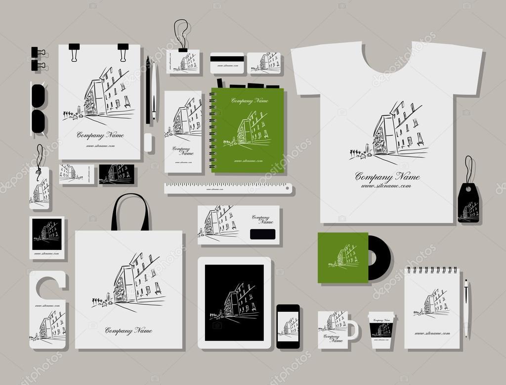 Plantilla corporativa maqueta plana, diseño de paisaje urbano ...
