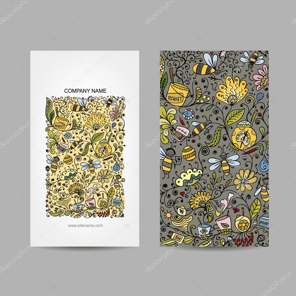 Vintage Cartes De Visite Conception Miel Floral Image Vectorielle