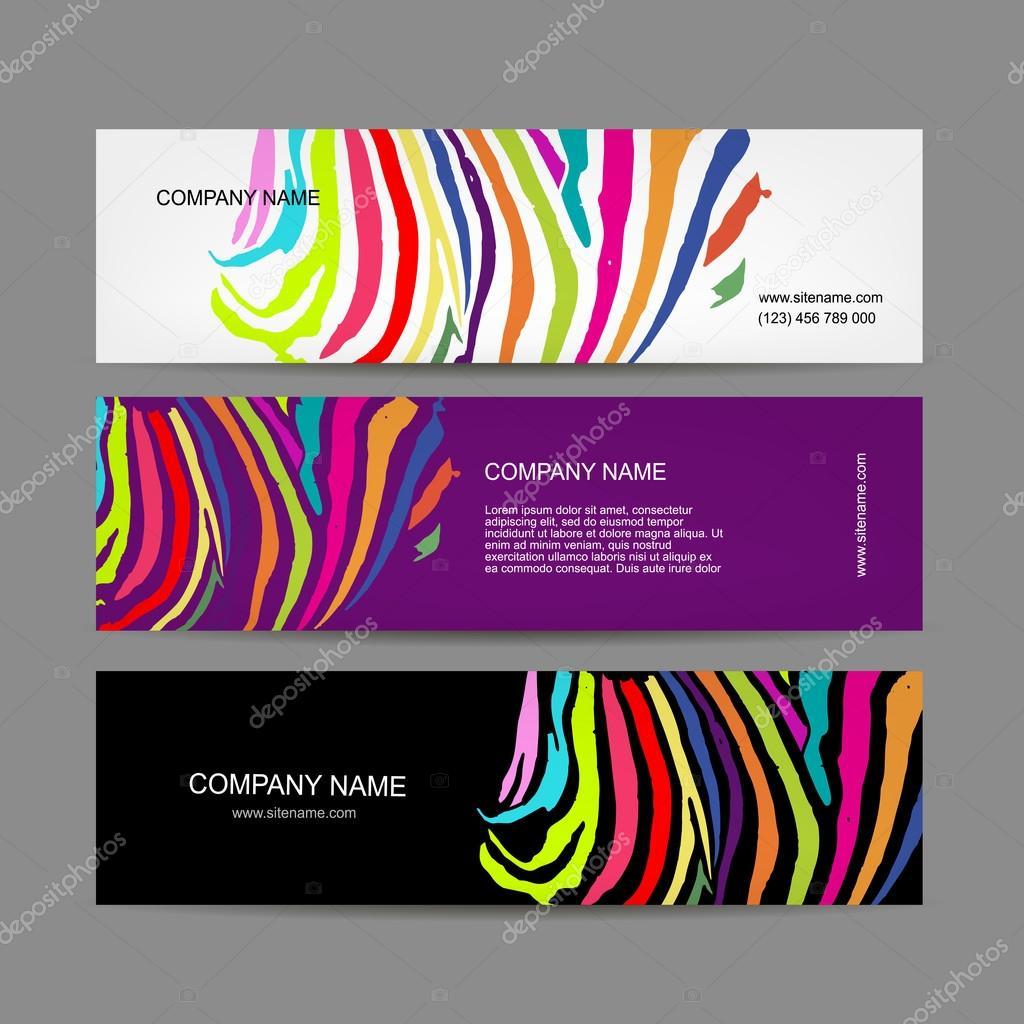 Conjunto de banners, diseño de estampado de cebra colores — Vector ...
