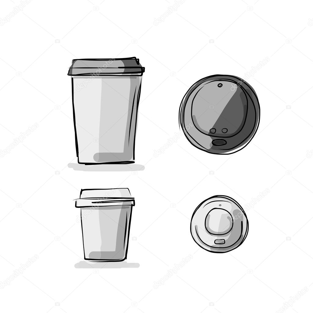 Coffee cup sketch - Take Away Coffee Cup Sketch For Your Design Stock Vector 97589742