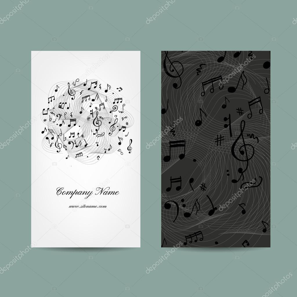 Carte De Visite Avec La Conception Musique Illustration Stock