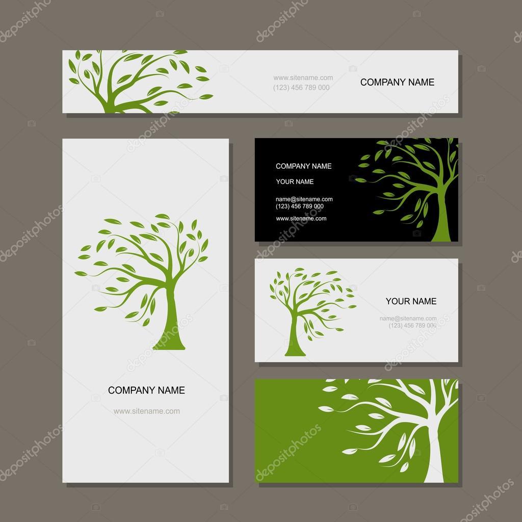 Visitenkarten Gestaltung Grüner Baum Stockvektor