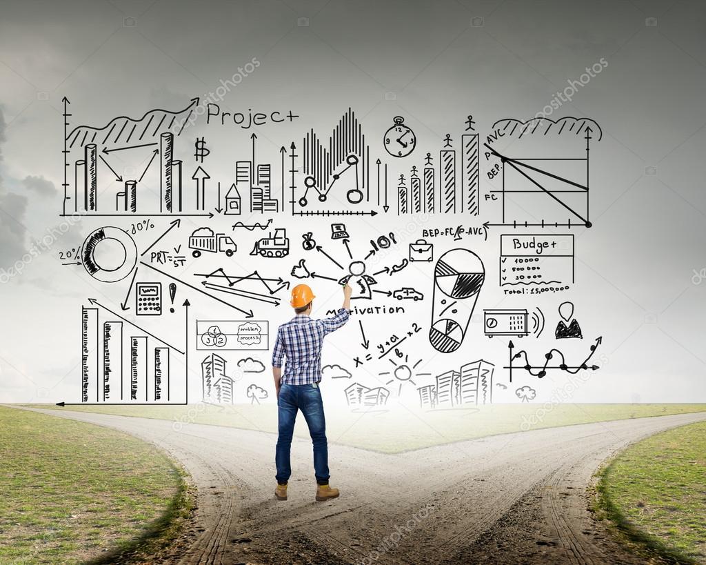 Ingenieur mann zeichnen ideen stockfoto sergeynivens 97538812 - Zeichnen ideen ...