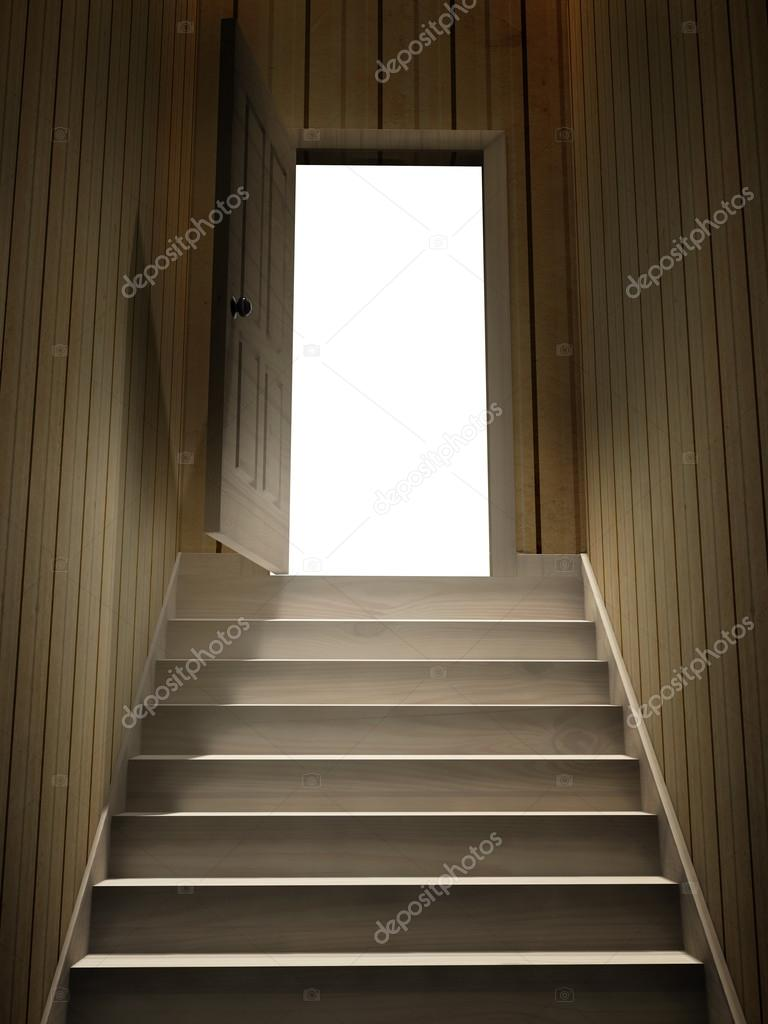 dark basement stairs. Steps Leading From A Dark Basement To Open The Door \u2014 Stock Photo Stairs