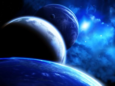 Beautiful space scene with parade of planets and nebula