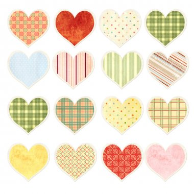 Collection of valentine hearts with paper texture in shabby chic style stock vector