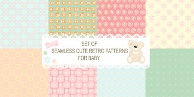 Collection of 8 retro different vector seamless patterns