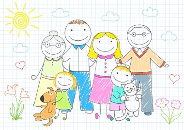 Happy family - mother, father, son, daughter, grandmother, grand