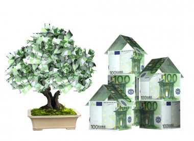 Three houses from euro banknotes and money tree