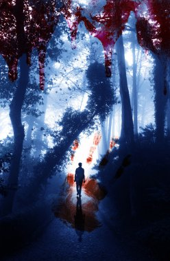 Bloody hand print and blood streaks on the background of the misty forest with men