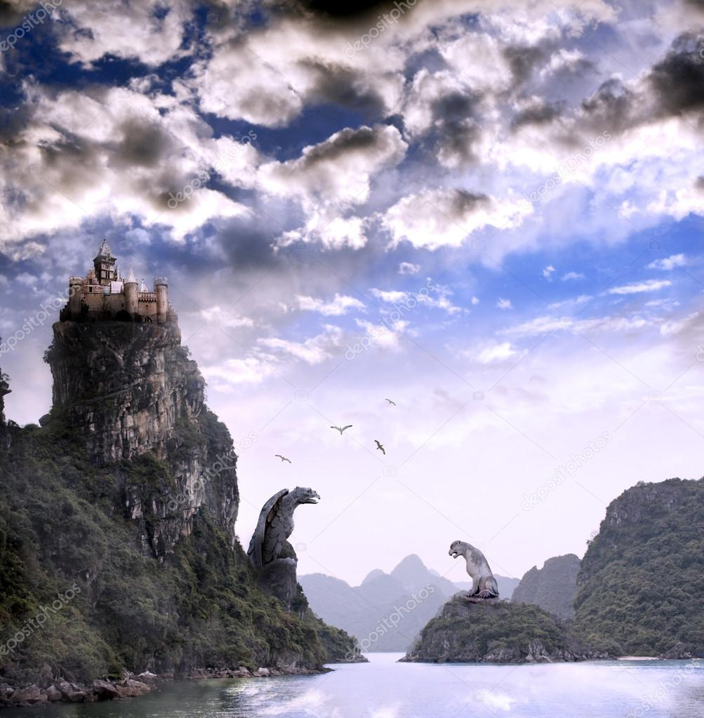 Beautiful fantasy landscape with old castle