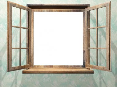 Open wooden window