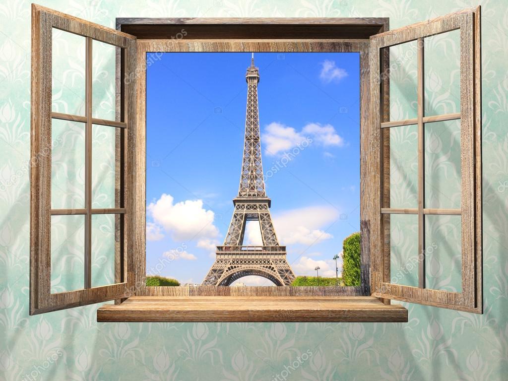 Top la fenêtre en bois et vue sur la Tour Eiffel, Paris — Photo #123333976 PP27