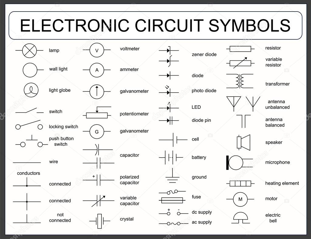 Set of electronic circuit symbols stock vector frenta 123335110 collection of vector blueprint electronic circuit symbols led resistor switch capacitor transformer wire speaker lamp zener fuse potentiometer biocorpaavc Gallery