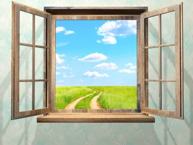 Open window with view on green field