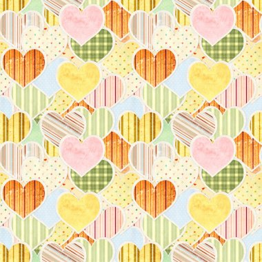 Seamless Valentine background with paper hearts stock vector