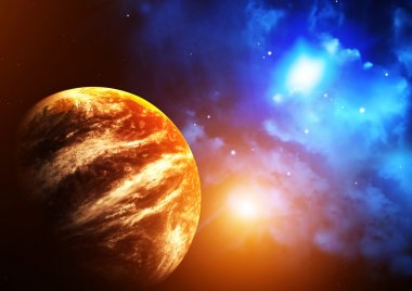 Space scene with planet and nebula