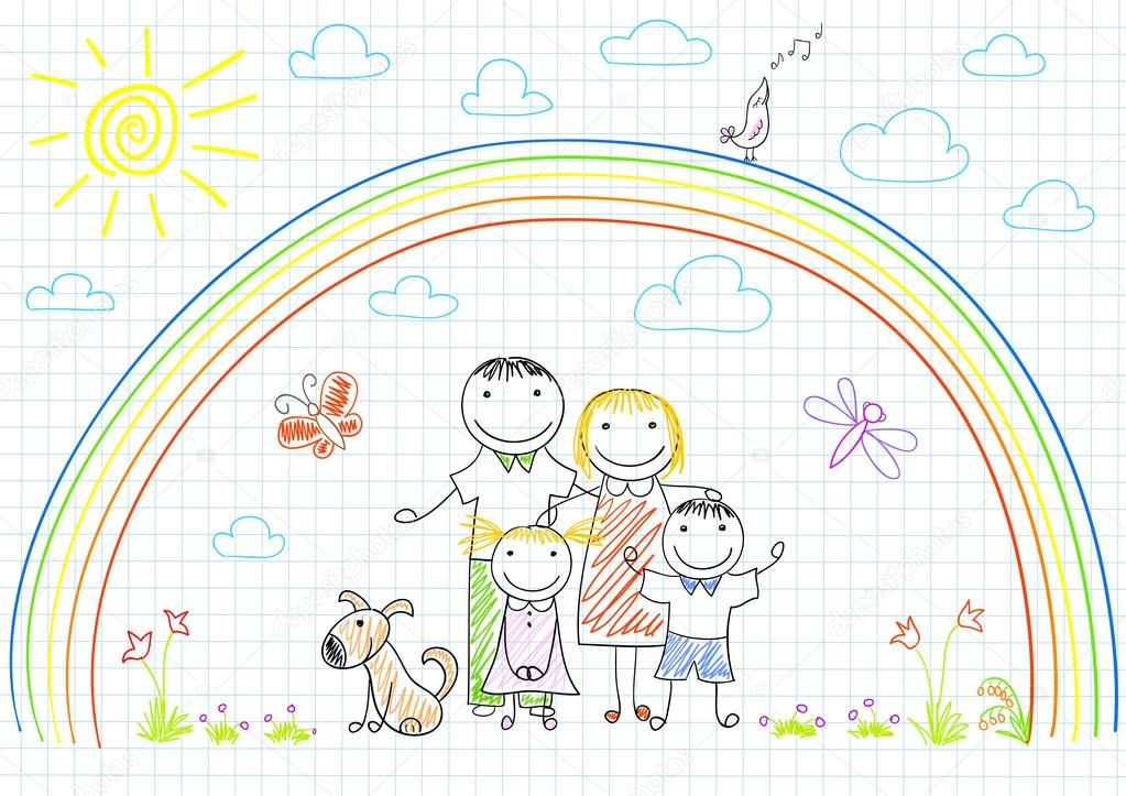 Happy family - mom, dad and two children