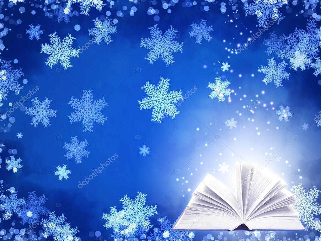 Fondo de Navidad de color azul con el libro de magia — Foto de stock ...