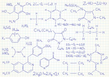 Vector background with chemistry formulas