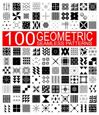 Collection of 100 different vector geometric seamless patterns