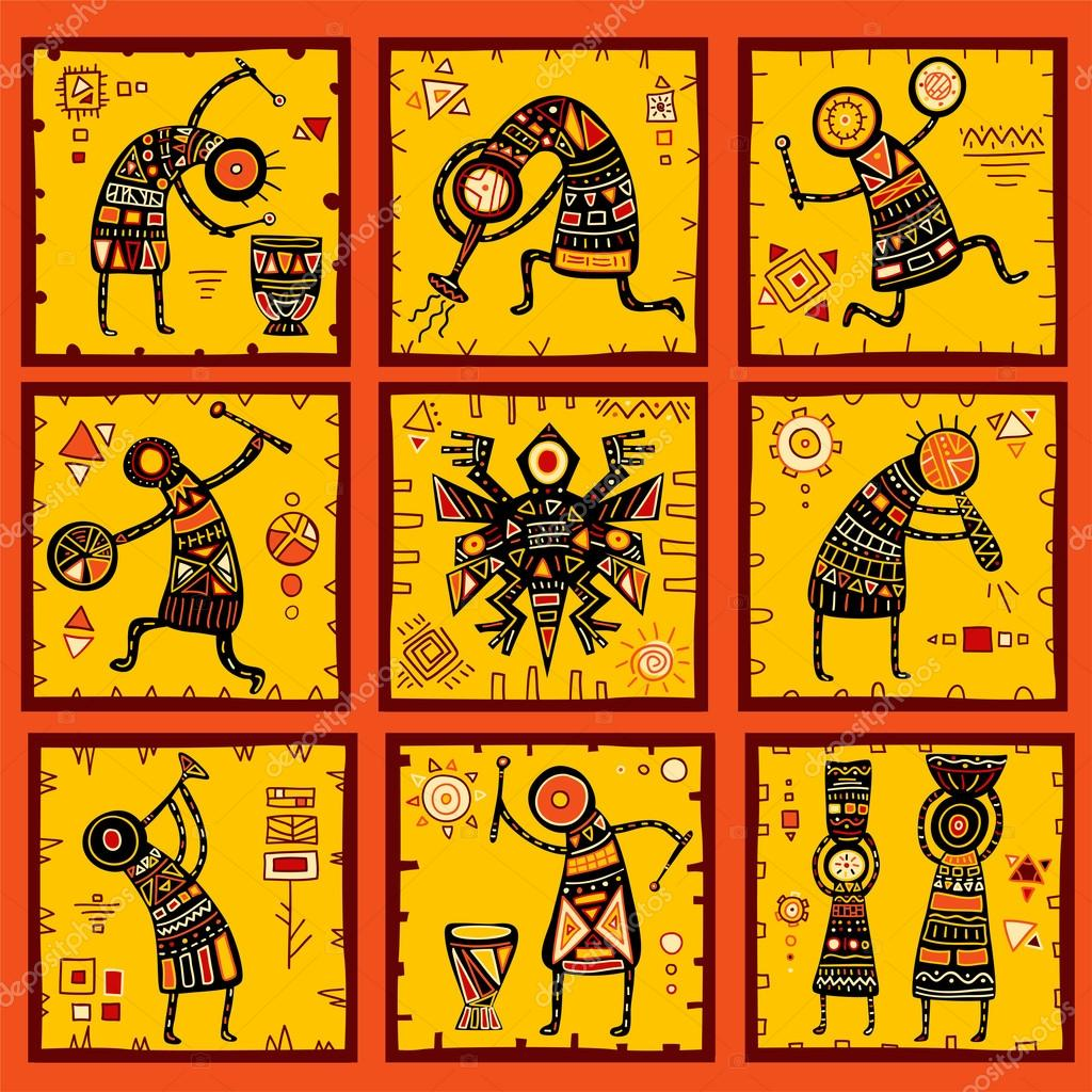 Set of 9 backgrounds with African ethnic patterns