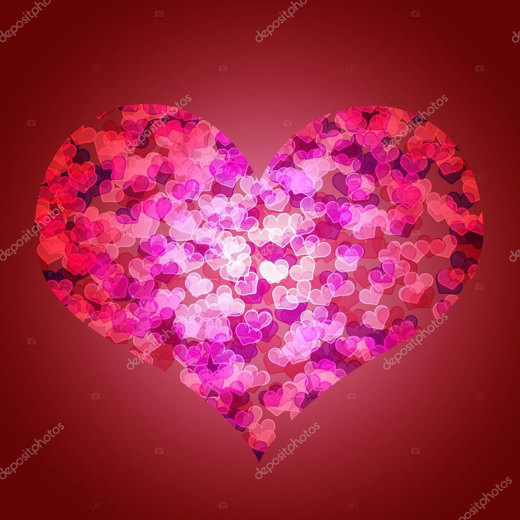 Luz Fondo Rojo San Valentín Con Corazones Grandes En El Centro