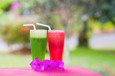 Fresh organic watermelon and cucumber juices