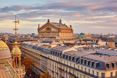 Parisian skyline with Opera Garnier at sunset