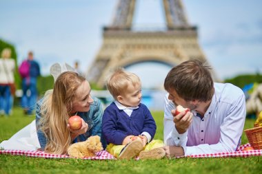 Happy family of three having picnic in Paris