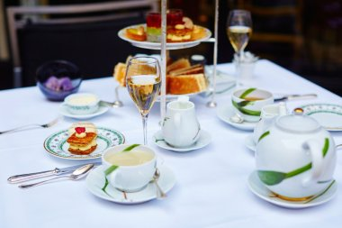 Beautiful table setting for high tea ceremony