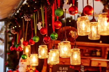 Colorful Christmas decorations on a Parisian Christmas market