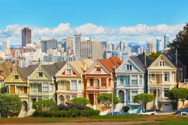 Famous Painted Ladies of San Francisco, California, USA stock vector