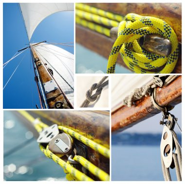 Collage of old sailing boat equipment - vintage wooden mast,sails, ropes, knots,snatch cleats and pulley blocks