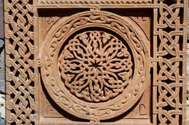 Ornamental knotworks of armenian cross stones - khachkars,medieval christian art,unesco world heritage site
