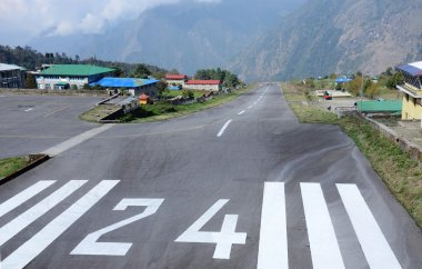 Take-off runway of Lukla Tenzing-Hillary airport in Nepal.Lukla  - place where most people start climbing to Mount Everest Base Camp