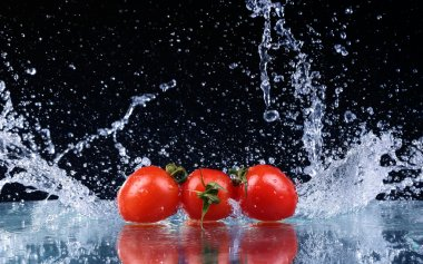 Studio shot with freeze motion of cherry tomatoes in water splash on black background