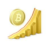 Fotografie Wachstums-Chart mit Bitcoin-Schild