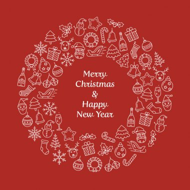 Merry Christmas and Happy New Year wreath
